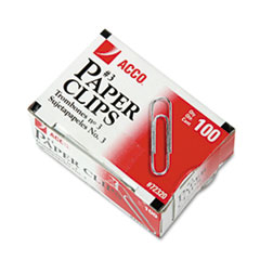 ACCO Smooth Economy Paper Clip, Steel Wire, No. 3, Silver, 100/Box, 10 Boxes/Pack