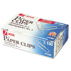 ACCO Smooth Finish Premium Paper Clips, Wire, No. 1, Silver, 100/Box, 10 Boxes/Pack
