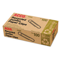 ACCO Recycled Paper Clips, Jumbo, 100/Box, 10 Boxes/Pack