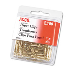GOLD TONE PAPER CLIPS, SMALL (NO. 2), GOLD TONE, 100/BOX