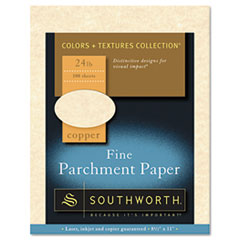 Southworth Parchment Specialty Paper, Copper, 24 lbs., 8-1/2 x 11, 100/Box