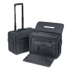 Rolling Catalog/Computer Case, Nylon, 18 x 8 x 13, Black
