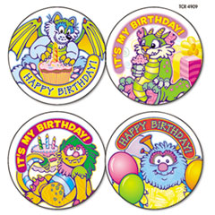 Teacher Created Resources Wear 'Em Badges, Critters Birthday, 32/Pack
