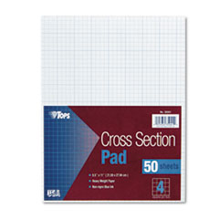 TOPS Section Pads, 4 Squares, Quadrille Rule, Letter, White, 50 Sheets/Pad