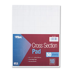 TOPS Cross Section Pads w/10 Squares, 8 1/2 x 11, White, 50 Sheets