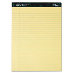 TOPS Docket Ruled Perforated Pads, Legal Rule, Ltr, Canary, 12 50-Sheet Pads/Pack