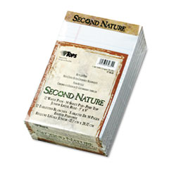 Second Nature Recycled Note Pads, Lgl/Margin Rule, 5 x 8, White, 50-Sheet, Dozen
