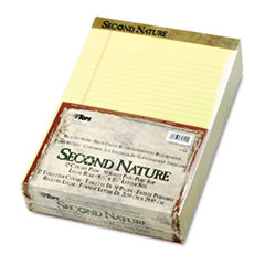 TOPS Second Nature Recycled Pad, Legal, Red Margin, Letter, Canary, 50-Sheet, Dozen