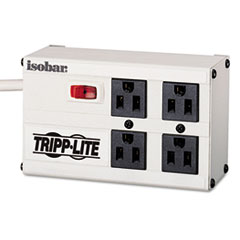 Tripp Lite ISOBAR4 Isobar Surge Suppressor, 4 Outlets, 6 ft Cord, 330 Joules, Light Gray
