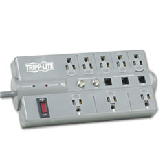 Tripp Lite TLP808TELTV Surge Suppressor, 8 Outlet, RJ11, Coax, 8ft Cord, 2160 Joules