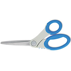 Westcott Soft Handle Bent Scissors With Antimicrobial Protection, Blue, 8
