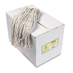 UNISAN Premium Cut-End Wet Mop Heads, Cotton, 24oz, White, 12/Carton