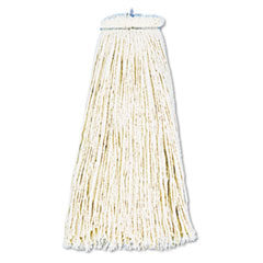 UNISAN Cut-End Lie-Flat Wet Mop Head, Cotton, 16-oz., White