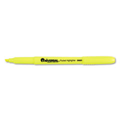 Universal Pocket Clip Highlighter, Chisel Tip, Fluorescent Yellow Ink, 1 Dozen