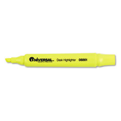 Universal Desk Highlighter, Chisel Tip, Fluorescent Yellow, 12/Pk