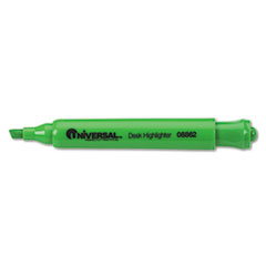 Universal Desk Highlighter, Chisel Tip, Fluorescent Green, 12/Pk