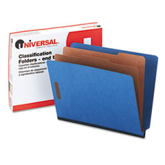 Universal One Pressboard End Tab Classification Folders, Letter, Six-Section, Blue, 10/Box