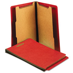 Universal Pressboard End Tab Folders, Letter, Six-Section, Bright Red, 10/Box