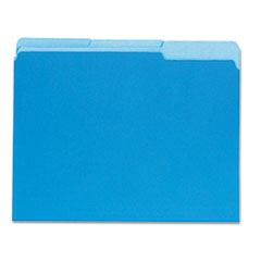 Universal Recycled Interior File Folders, 1/3 Cut Top Tab, Letter, Blue, 100/Box