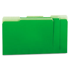 Universal Recycled Interior File Folders, 1/3 Cut Top Tab, Letter, Green, 100/Box