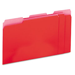 Universal Recycled Interior File Folders, 1/3 Cut Top Tab, Letter, Red, 100/Box
