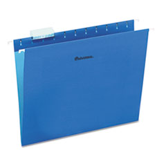 Universal Hanging File Folders, 1/5 Tab, 11 Point Stock, Letter, Blue, 25/Box