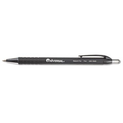 Universal Comfort Grip Ballpoint Retractable Pen, Black Ink, Fine, Dozen