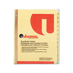 UNV 20814 Universal One Preprinted Plastic Coated Tab Dividers with Black Printing UNV20814
