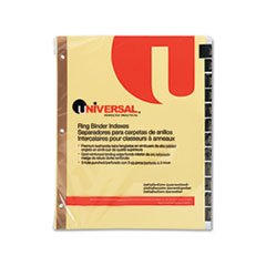 UNV 20823 Universal One Preprinted Simulated Leather Tab Dividers with Gold Printing UNV20823