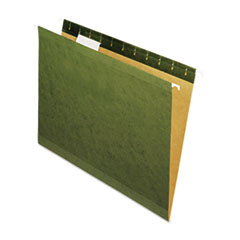 Universal One Reinforced Recycled Hanging Folder, 1/5 Cut, Letter, Standard Green, 25/Box