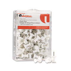 Universal Colored Push Pins, Plastic, White, 3/8