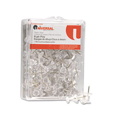 Universal Colored Push Pins, Plastic, Clear, 3/8