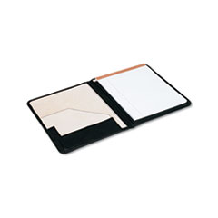 Universal Pad Holder, Suede-Lined Leather, w/Writing Pad, Inside Flap Pocket, Black
