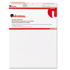 Universal One Self-Stick Easel Pads, Unruled, 25 x 30, White, 2 30-Sheet Pads/Carton