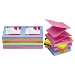 Universal Fan-Folded Pop-Up Notes, 3 x 3, 5 Colors, 12 100-Sheet Pads/Pack