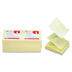 Universal Fan-Folded Pop-Up Notes, 3 x 3, Yellow, 12 100-Sheet Pads/Pack