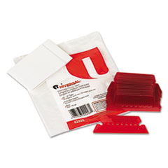 Universal Hanging File Folder Plastic Index Tabs, 1/5 Tab, Two Inch, Red, 25/Pack