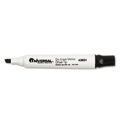 Universal Dry Erase Marker, Chisel Tip, Black, Dozen