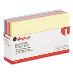 Universal Index Cards, 5 x 8, Blue/Salmon/Green/Cherry/Canary, 250/Pack