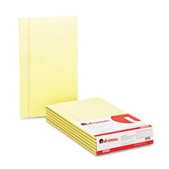Universal Glue Top Writing Pads, Wide Rule, Legal, Canary, 50-Sheet Pads/Pack, Dozen