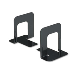 Universal Economy Bookends, Nonskid, 4 3/4 x 5 1/4 x 5, Heavy Gauge Steel, Black