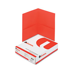 Universal Two-Pocket Portfolio, Embossed Leather Grain Paper, Red, 25/Box
