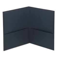 Universal Two-Pocket Portfolio, Embossed Leather Grain Paper, Dark Blue, 25/Box