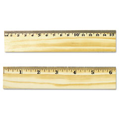 Universal Flat Wood Ruler w/Double Metal Edge, 12