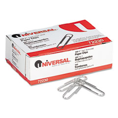Universal Nonskid Paper Clips, Wire, No. 1, Silver, 100/Box, 10 Boxes/Pack