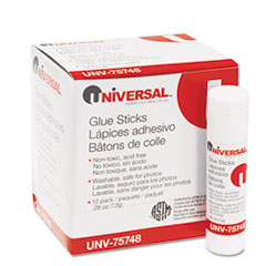 Universal Permanent Glue Stick, .28 oz, Stick, 12/Pack