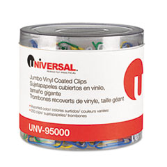 Universal Paper Clips, Vinyl Coated Wire, Jumbo, Assorted Colors, 250/Pack