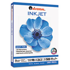Universal Inkjet Paper, 98 Brightness, 24lb, 8-1/2 x 11, White, 500 Sheets/Ream