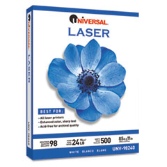 Universal Laser Paper, 98 Brightness, 24lb, 8-1/2 x 11, White, 500 Sheets/Ream