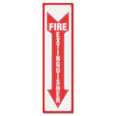 "Headline® Sign SIGN FIRE EXTG 4""X13"" RDG Glow In The Dark Sign, 4 X 13, Red Glow, Fire Extinguisher"